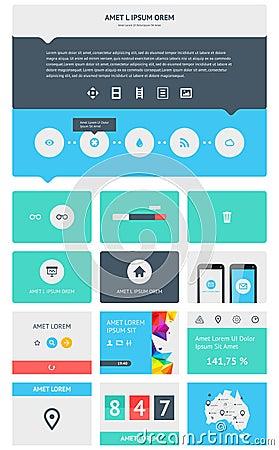 Elemente von Infographics mit Knöpfen und Menüs