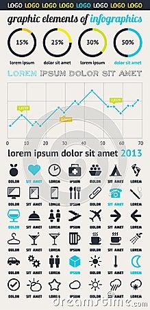 Elemente von Infographics mit Tasten und Menüs
