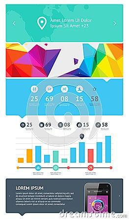 Elementen van Infographics met knopen en menu s