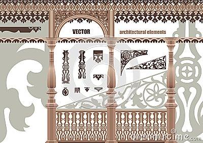Elementi architettonici intagliati vettore