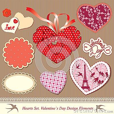 Elementi di disegno di giorno dei biglietti di S. Valentino