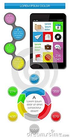 Elementi di Ui, di infographics e di web compreso la d piana
