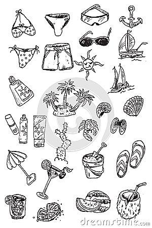 Elementi di vacanza di tiraggio della mano