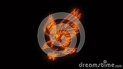 Elemento ardente alaranjado de Eagle Animated Logo Loopable Graphic ilustração stock