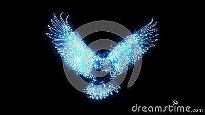 Elemento ardente azul de Eagle Animated Logo Loopable Graphic ilustração do vetor