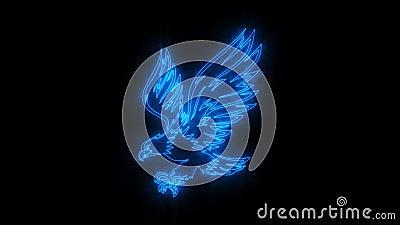 Elemento ardente azul de Eagle Animated Logo Loopable Graphic ilustração royalty free