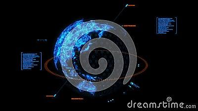 Elemento blu del grafico dell'interfaccia dell'ologramma della terra di HUD 3D illustrazione vettoriale