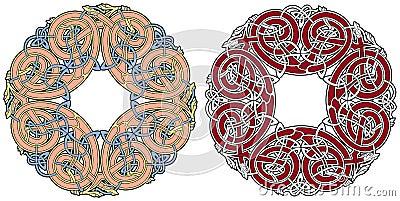 Elemento celtico di disegno con gli uccelli e gli animali