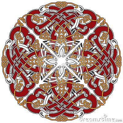 Elemento céltico detallado del diseño con los pájaros
