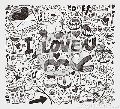 Elemento del amor del Doodle