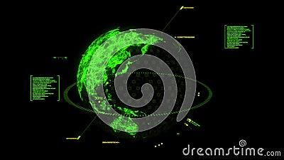 Elemento verde del grafico dell'interfaccia dell'ologramma della terra di HUD 3D illustrazione di stock
