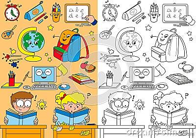 Elementos da escola da coloração para crianças
