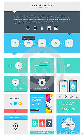 Elementos de Infographics com botões e menus