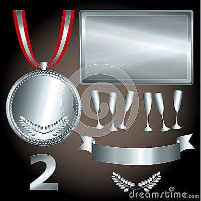 Elementos de plata para los juegos y los deportes