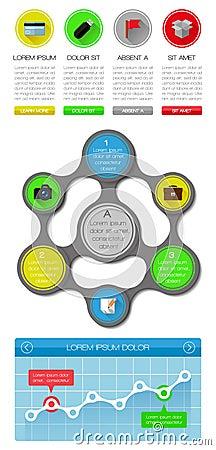 Elementos de Ui, de infographics e de Web que incluem d liso