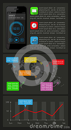 Elementos de Ui, del infographics y del web incluyendo d plana