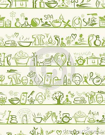 Elementos del diseño del masaje y del balneario en estantes,