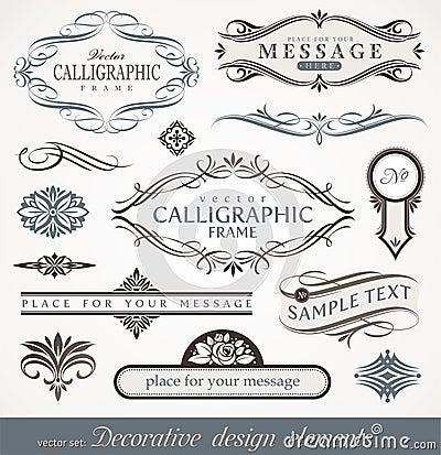 Elementos do projeto & decoração caligráficos da página