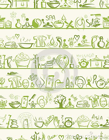 Elementos do projeto da massagem e dos termas em prateleiras,