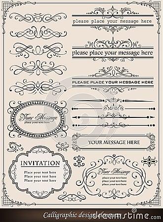 Elementos do projeto e decoração caligráficos da página