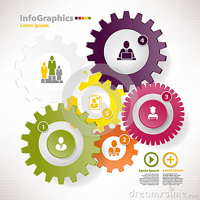Elementos modernos do vetor para o infographics com rodas denteadas diferentes