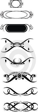 Tribal Squiggle black vector designs set