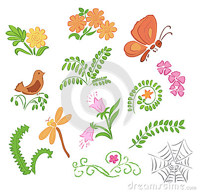 Elements of flora and fauna - vector