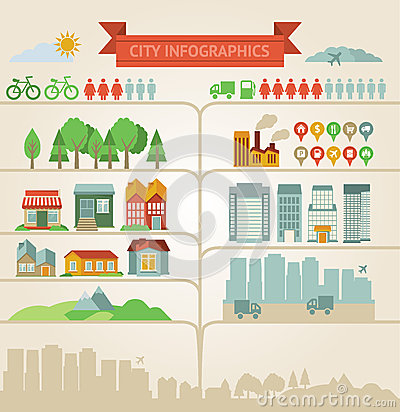 Free Elements For Infographics About City And Village Royalty Free Stock Images - 27338769