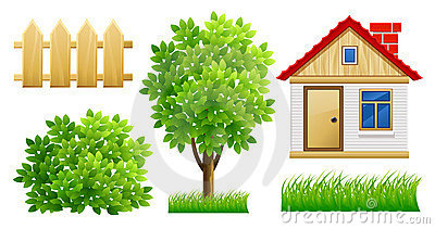 Elements of green garden with house and fence