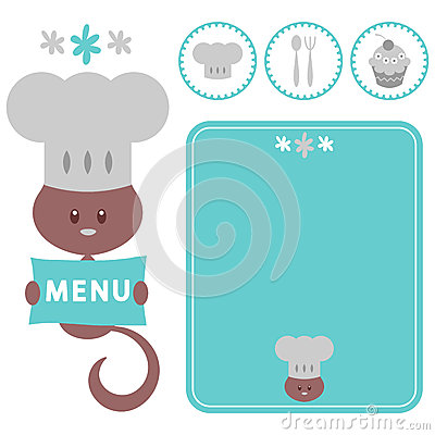 Elements for restaurant with kitty chef