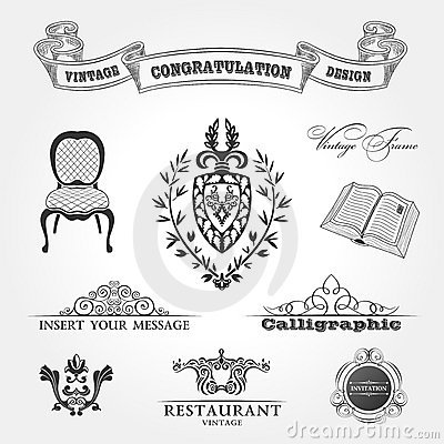Free Elements Vintage Chair Ribbon Book. Vector Stock Photography - 21932922
