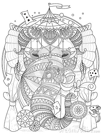 Elephant Adult Coloring Page Stock