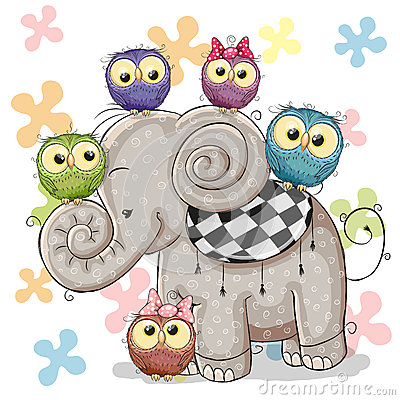 Free Elephant And Owls Stock Images - 66946534