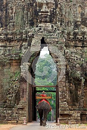 Free Elephant At Angkor Thom Gate, Cambodia Stock Photography - 19296372