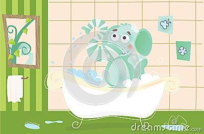 Elephant baby is bathing