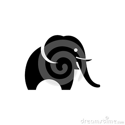 Elephant black silhouette isolated on white background, abstract art illustration Stock Photo