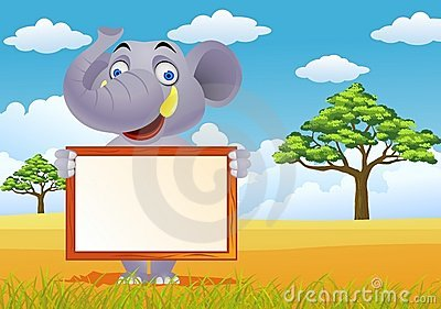 Elephant and blank sign