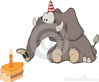 The elephant calf and a slice cake. Cartoo
