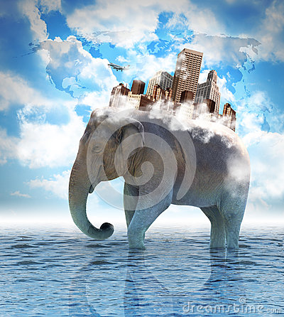 Elephant Carrying City on Back with Clouds