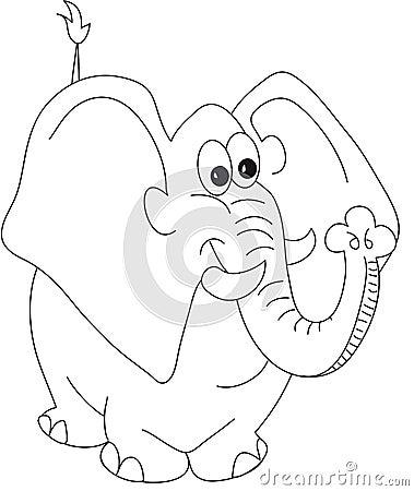 Elephant Cartoon Black And White