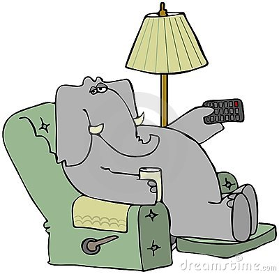 Elephant In A Chair With A Remote