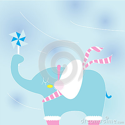 Elephant on a cold day