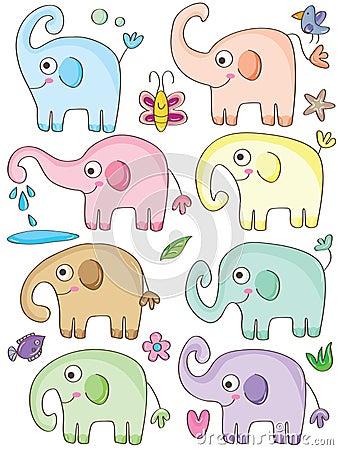 Free Elephant Cute Sets_eps Stock Image - 38561771