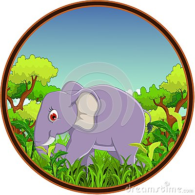 Elephant with forest background