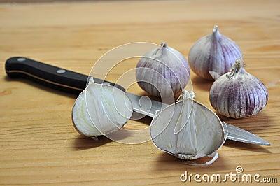 Elephant Garlic on cutting board