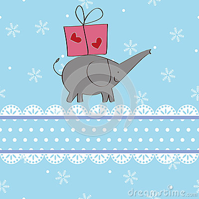 Elephant and gift Christmas card design