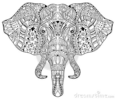 Elephant Head Doodle On White Vector Sketch. Stock Vector - Image ...