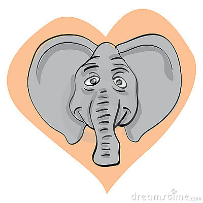 Elephant head in heart