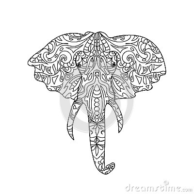 Elephant Head Zentangle Stock Illustration Image 55171343