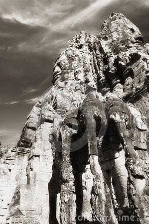 Elephant heads at gate to Angkor Thom